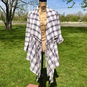 Waterfall Fringe Front Plaid Flannel 3/4 Sleeve